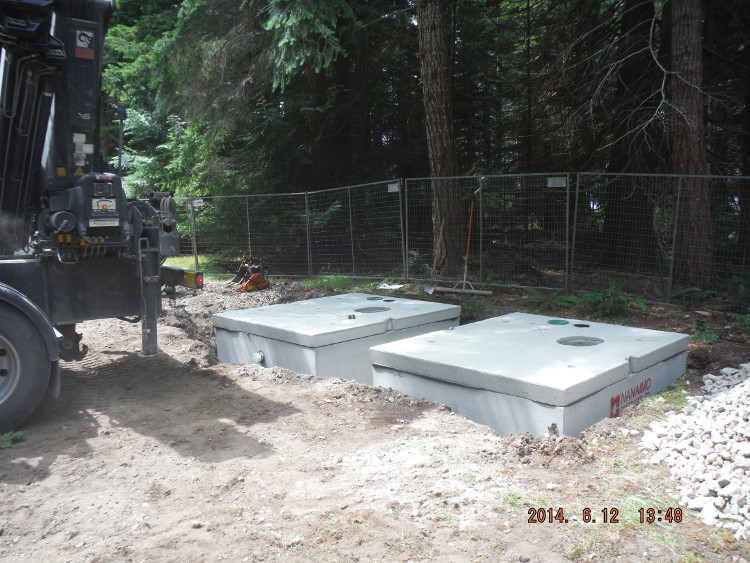 Installed septic holding tanks